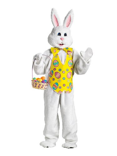Dlx Bunny Costume W Yellow Vest & Mascot Head Adult