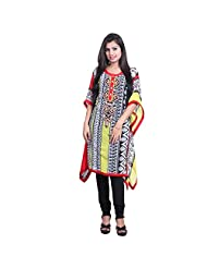 India Colors Red Geometrical Printed Georget Kaftan With Cotton Inner