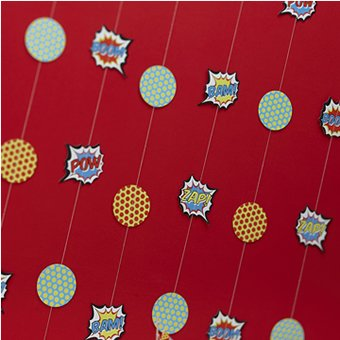 Ginger Ray Pop Art Superhero Party Backdrop Banner, Mixed