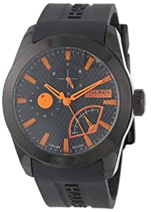 """Haurex Italy Men's 3N501UON """"Magister"""" Black Stainless Steel and Silicone Watch"""
