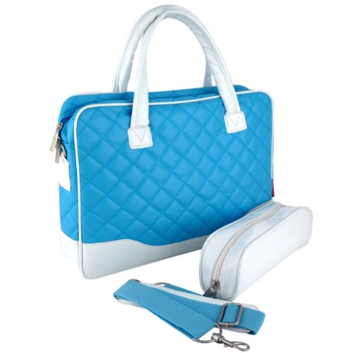 14.1 inch Baby Blue Diamond Quilted Pattern with White Accent Trim Bubble Foam Padded Laptop Computer Notebook Sleeve Office Tote Briefcase Carry Case Messenger Shoulder Bag Picture