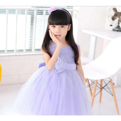 【Dream-studio】上品なふんわりフォーマルドレス パープル 【【ドレス カチューシャ 2点セット】】 (120)