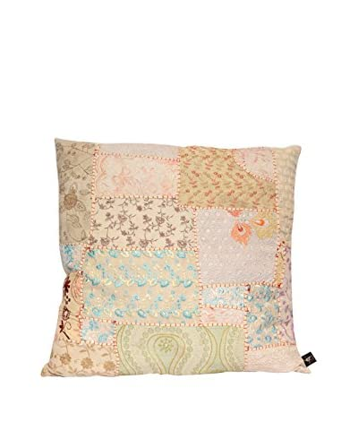 Uptown Down One-of-a-Kind Patchwork Throw Pillow, Crème