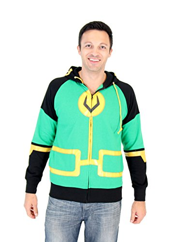 Marvel Kid Loki Symbol Adult Zip Up Costume Hoodie (Adult Small) (Marvel Sweatshirt Kids compare prices)