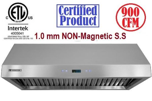 """Xtremeair Px11-U30, 30"""", 900 Cfm, Led Lights, Baffle Filter W/ Grease Drain Tunnel, 1.0Mm Non-Magnetic Stainless Steel, Under Cabinet Mount Range Hood"""