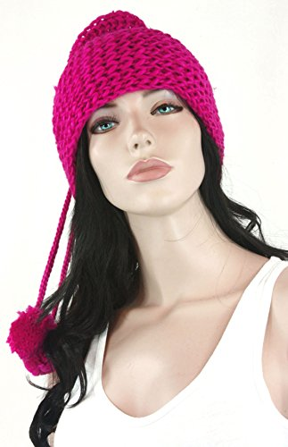 Fashion Dimensions Fuscia Versatile Knitted Tube Cowl Scarf And Hat