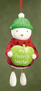My Favorite Teacher Dangling Leg Snowman Christmas Ornament