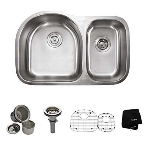 Kraus 30 inch Undermount 60/40 Double Bowl 16 gauge Stainless Steel Kitchen Sink photo
