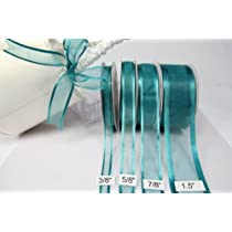 Teal Organza Ribbon with Satin Edge-25 Yards X 1.5 Inches