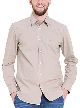 BIG STAR Camisa Hombre Baten_Shirt_Ls 884 L (Beige)