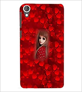 PrintDhaba Cute Girl D-4524 Back Case Cover for HTC DESIRE 820 (Multi-Coloured)