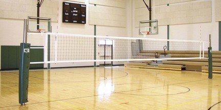 Collegiate 3 Court Volleyball System without Floor Sleeves and Covers