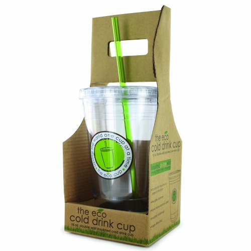 Smart Planet 16-Ounce Double-Wall Plastic Cold-Drink Cup with Reusable Straw