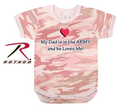 "Rothco Baby Pink Camo ""My Dad Is In the Army"" One Piece Bodysuit, 9-12 Months"