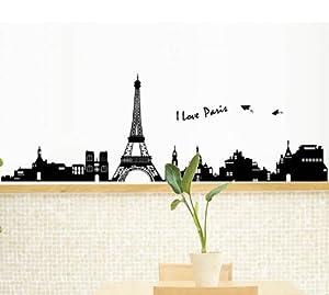 170cm 60cm large i love paris eiffel tower for Eiffel tower wall mural ikea