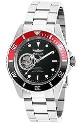 Invicta 20435 Men's Pro Diver Steel Bracelet Black Dial Automatic Dive Watch