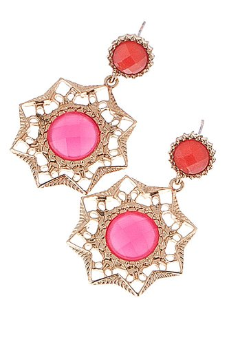The Jewel Rack Jeweled Star Earrings (Fuchsia) front-198580