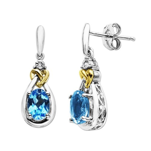 Sterling Silver and 14k Yellow Gold Blue Topaz with Diamond Earrings