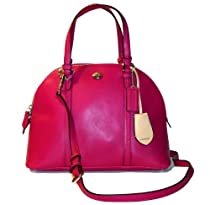 Coach Peyton Cora Magenta Leather Domed Satchel - Style 25671