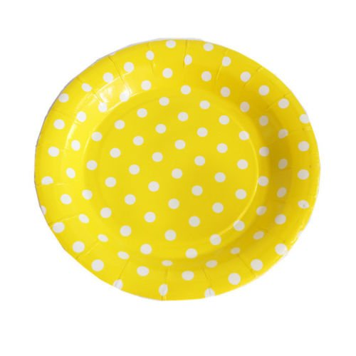 10 Pcs Disposable Dinner Plates Disposable Colored Polka Dots Round Paper Plate Dishes Food Trays,Wedding Disposable Plates (Yellow, 9