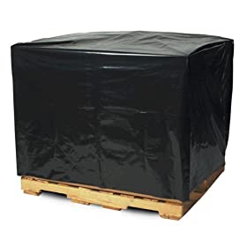 "Aviditi PC548 Perforated Pallet Cover, 49"" Length x 51"" Width x 73"" Height, 2 mil Thick, Black (Case of 50)"