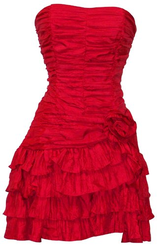 Crinkle Satin Strapless Ruffle Mini Dress Prom Formal Bridesmaid