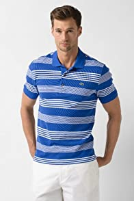 Big Short Sleeve Cluster Stripe Pique Polo