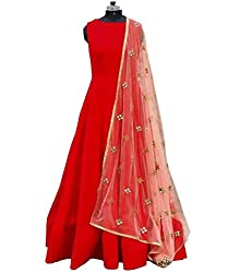 Fabloo Fashion Women's Red Color Gown