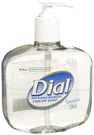 Dial 1747045 Light Floral Clear Antimicrobial Sensitive Skin Liquid Hand Soap with Pump, 16oz Bottle (Pack of 12)