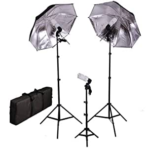CowboyStudio Photo Studio Black Silver Umbrella Continuous Triple Lighting Kit with Carrying Case, 600 Watt Output