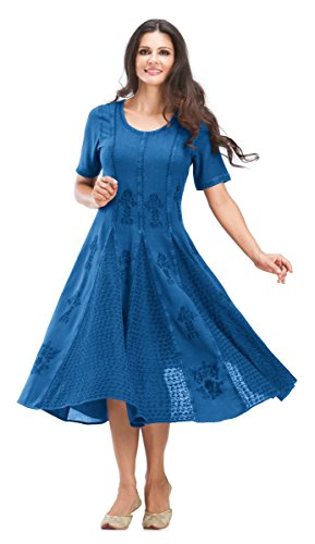 HolyClothing Emily Embroidered Moss Crepe Inlays Boho Tea Length Dress - Medium - Blue Divine