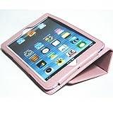 iPad mini ケース/アイパッド ミニ/スタンドB型/合皮製/牛皮模様/ライトピンク/薄桃色