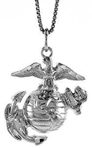 Sterling Silver U.S. Marines Eagle Globe & Anchor EGA Pendant, 1 1/8 inch tall