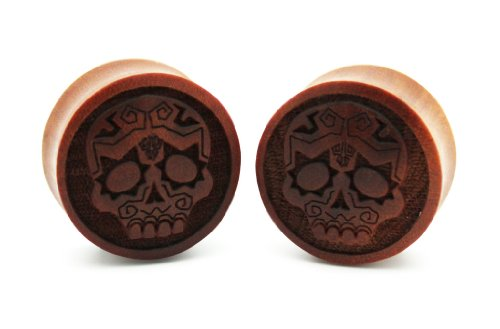 "7/8"" 22Mm Sawo Wood Sugar Skull Dia De Los Muertos Mexican Double Flare Carved Ear Gauges Plugs Laser Cut Organic (Sold By Pair)"