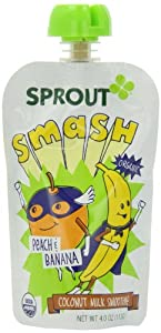 Sprout Kids Coconut Milk Smoothie Smash, Peach and Banana, 4.0 Ounce (Pack of 5)