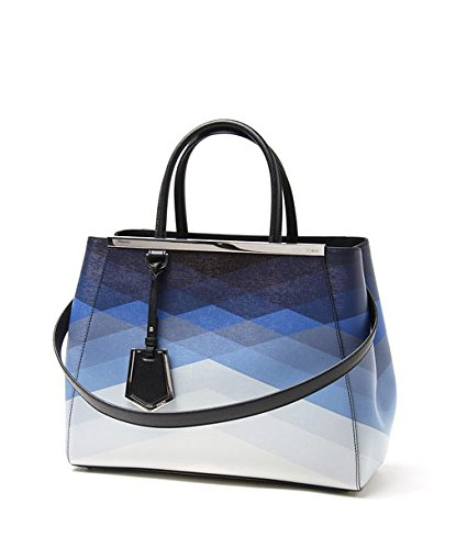 Fendi 2Jours Blue Geometric Gradient Tote Bag