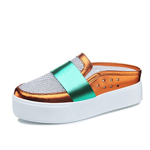 Pantoufles dames/Chaussures de maille de Baotou/Semelle épaisse plateforme sandales plates