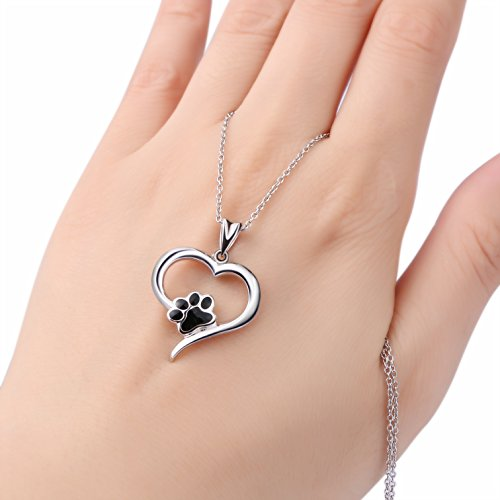 925 sterling silver forever love heart puppy paw pendant necklace aloadofball Images