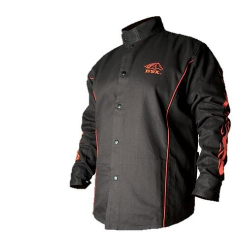 Why Should You Buy BSX BX9C Black W/ Red Flames Cotton Welding Jacket - XL