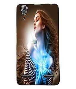 Fuson Sparkle Heart Girl Back Case Cover for LENOVO A6000 - D4004