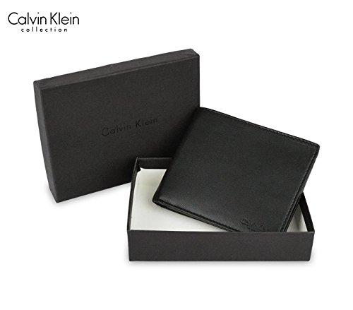 S08 Portafoglio da uomo Calvin Klein in vera pelle nero Made in Italy. MEDIA WAVE store ®