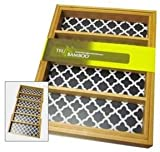 Trubamboo Bamboo Kitchen Drawer Flatware Organizer Tray Expandable Print Lined Rectangular Compartments (Black)