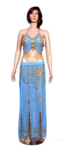 A 2pc Set of Blue Color Hot Belly Dance Costume, Beaded Halter Top with Fringe and Full Skirt Set