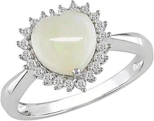 14K White Gold 1/5 Carat Diamond and 1 1/3 Carat Heart Opal Ring