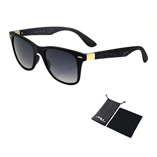 [JULI 80s Retro Style Wood Temple Plastic Frames Sunglasses Men Women 4195-2] (80s Fashion For Men)