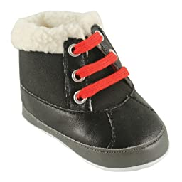 Luvable Friends Baby Faux Suede Winter Boots, Black, 6-12 Months