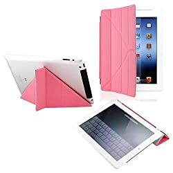 GeekGoodies Smart Magnetic Multi Fold Triangle Cover for Apple ipad 2 / 3 / 4 Pink
