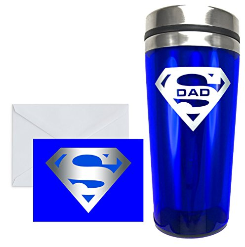 SUPER MUGS Blue and Silver 16 Oz Insulated Glossy Acrylic and Stainless Steel Tumbler for Dad, Christmas, Birthday, Fathers Day Gift, Leak & Spill Proof Slider In Lid, Matching Greeting Card