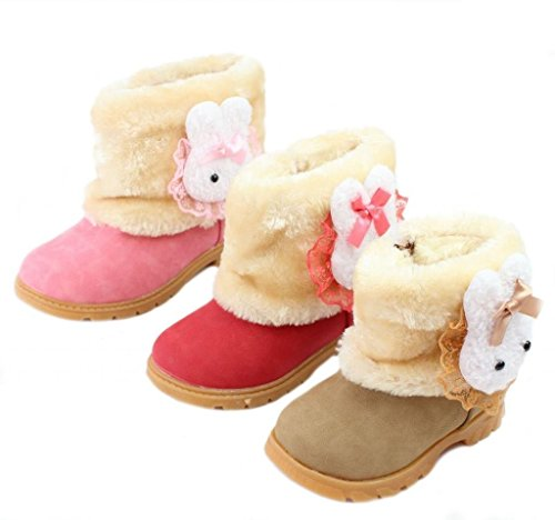 Femizee Baby Girls Infant Toddler Winter Fur Shoes Rabbit Snow Boots Booties,Red,5 M US Toddler