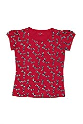 Poppers by Pantaloons Girl's Crew Neck T-Shirt (205000005621897, Red, 7-8 Years)